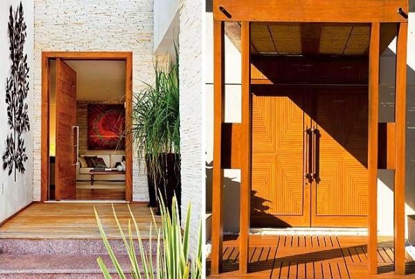 porta madeira ripada fachada casa moderna assim eu gosto