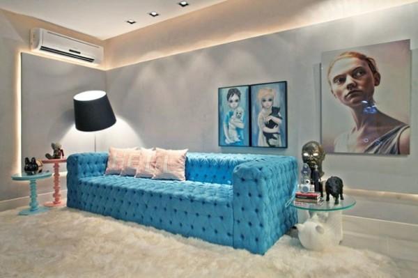 sofa de capitone azul