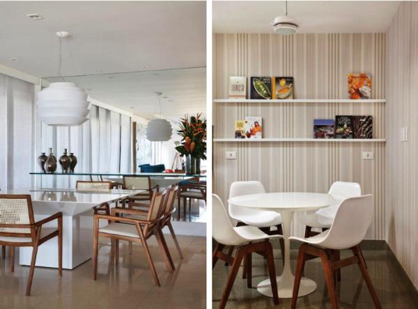 mesa de jantar branca cadeiras madeira