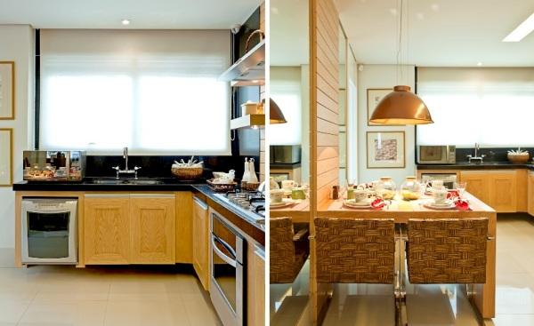 cozinha granito preto e madeira