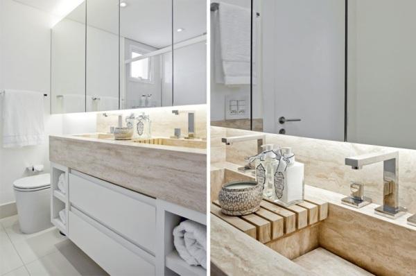 banheiro cuba esculpida marmore travertino