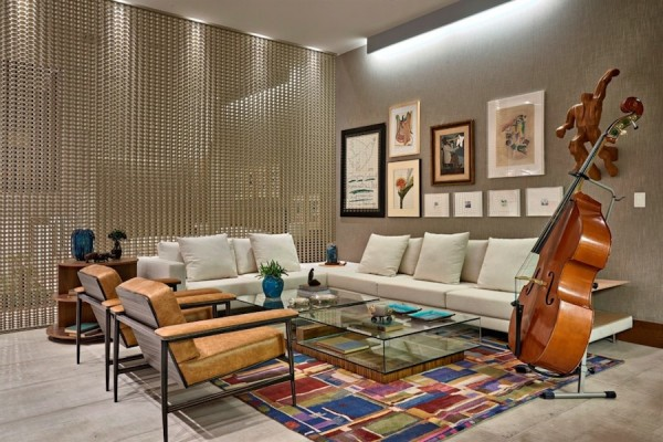 sala com cortina divisoria casa cor brasilia