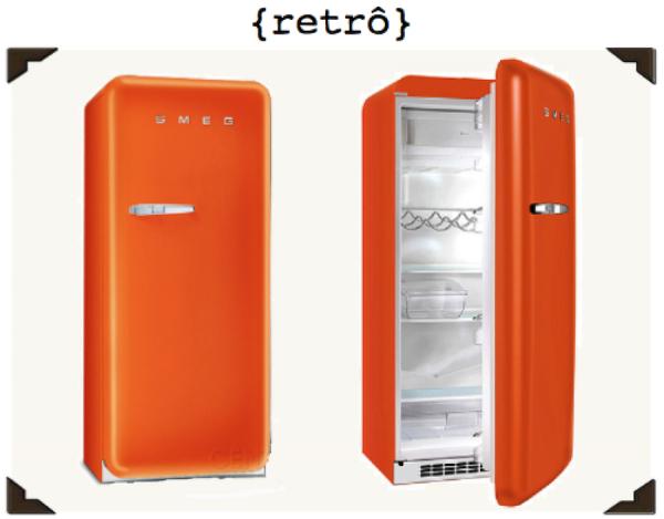 geladeira retro laranja