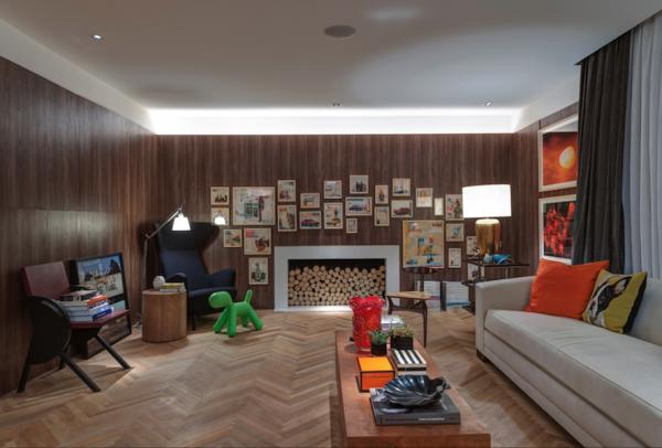 sala grande paineis de madeira com led
