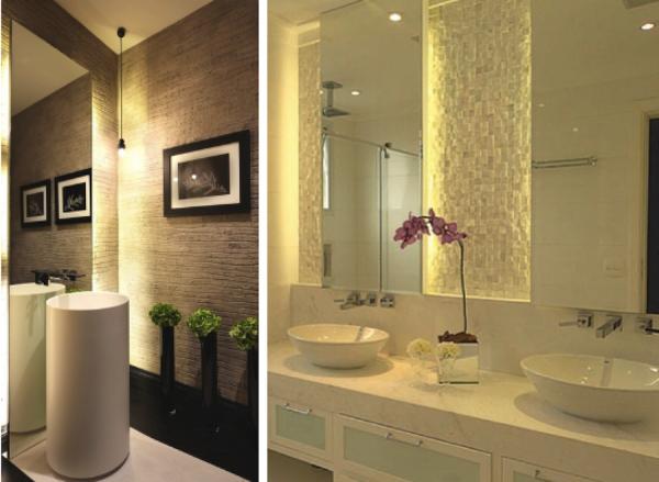Armario De Parede Banheiro Com Espelho : Banheiros com ilumina??o embutida atr?s do espelho