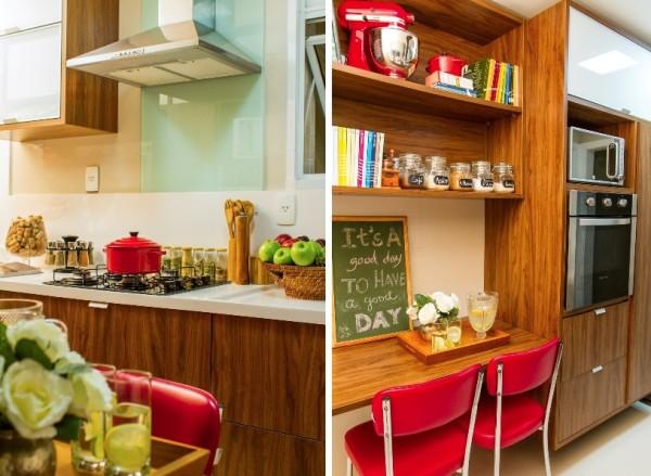 cozinha madeira e vermelho