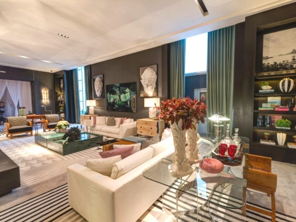 decoracao contemporanea tapete estampa geometrica cores claras ambiente neutro casa cor