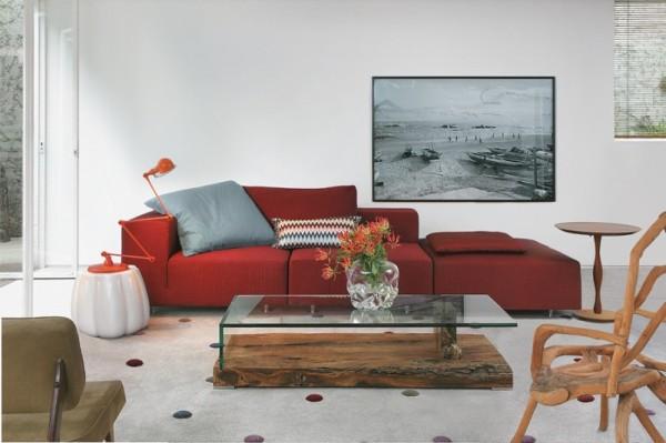 francisco calio decoracao sala moderna tapete bolas design sofa vermelho