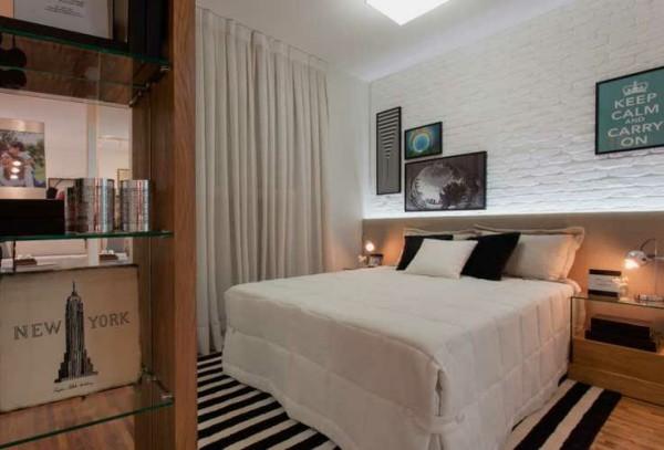 quarto com tijolinho branco