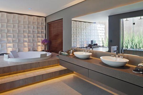 banheiros escuros bancada silestone amanzon solarium catavento