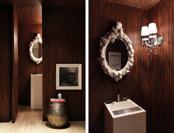 decoracao parede madeira espelho veneziano arandela cristal