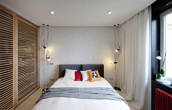 decoracao quarto parede tijolo branco moderno cama box