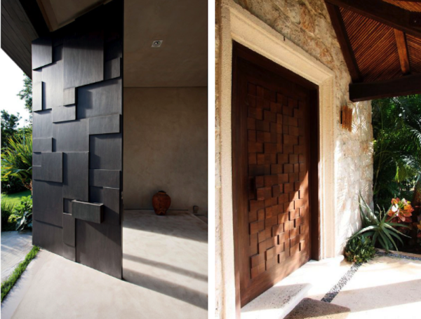 porta de entrada com relevo quadriculado
