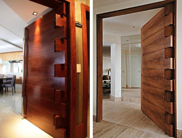 portas de entrada de madeira com recortes desencontrados projetos