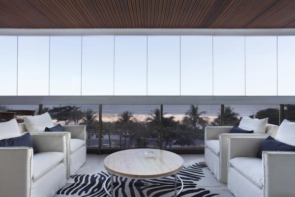 projeto apartamento lindo moderno varanda vista cortina de vidro