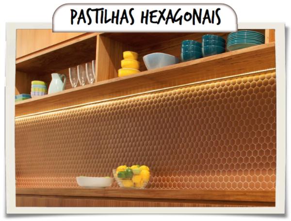 revestimento cozinha pastilha de vidro hexagonal cobre portinari