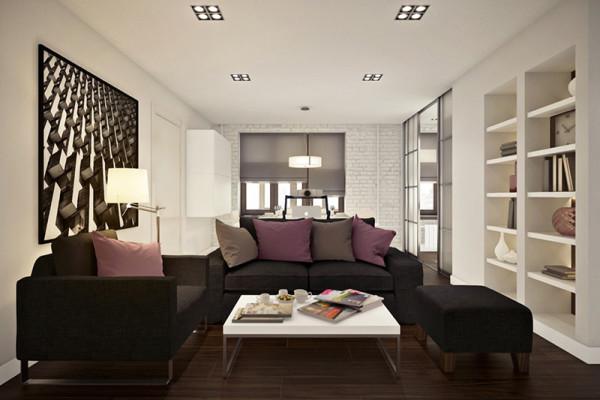 sala moderna decoracao tijolinho branco