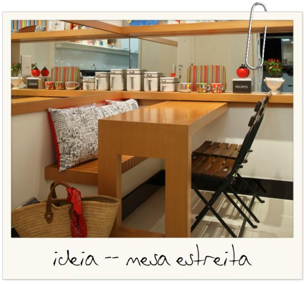 ideia aproveitamento espaco mesa estreita com banco blog assim eu gosto