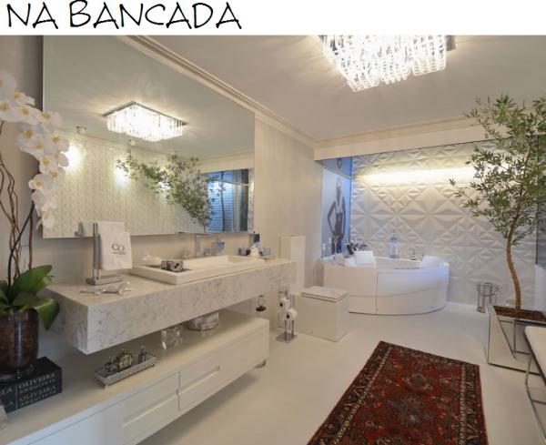 assim eu gosto bancada marmore carrara banheiro casa cor