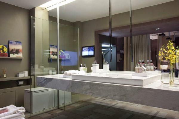 banheiro bancada marmore carrara cuba apoio decor atual