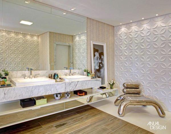 banheiro casal grande tendencia marmore branco carrara