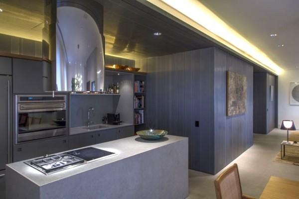 cozinha integrada acabamentos cinza chumbo granito apicoado