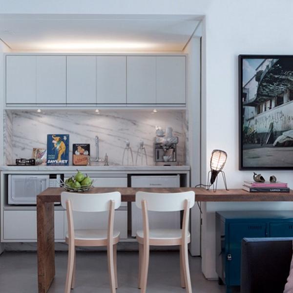 cozinha integrada msa madeira bancada marmore carrara