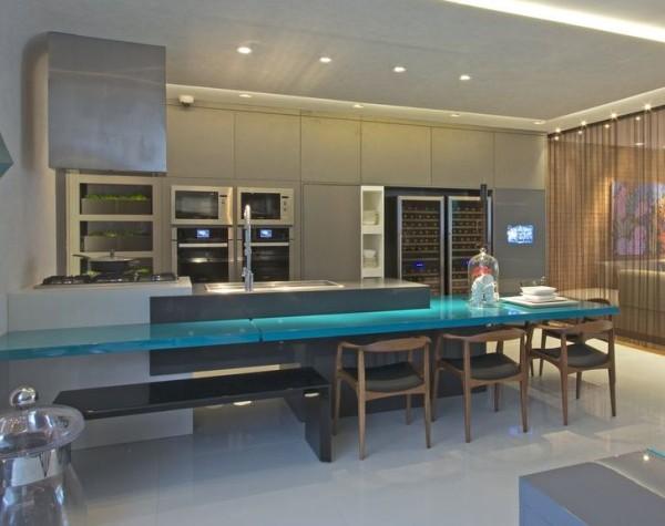 cozinha moderna casa cor cimento queimado laca turquesa