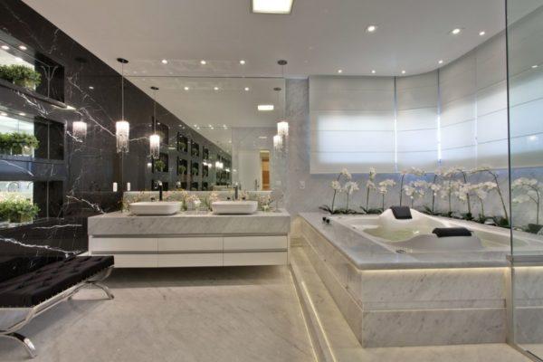 decoracao casa contemporanea banheiro chique marmore nobre