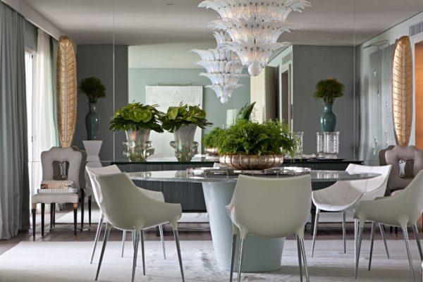 decoracao mesa de jantar branca oval