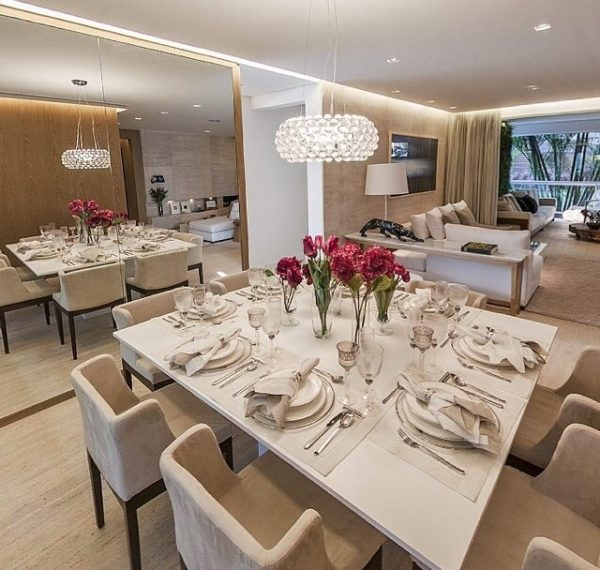 mesa de jantar branca laqueada