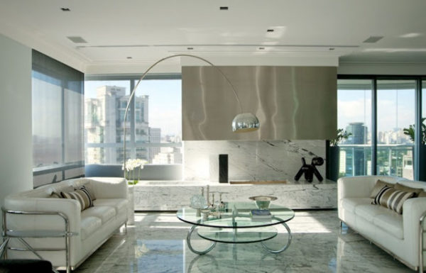 projeto brunete fracarolli lareira marmore branco carrara