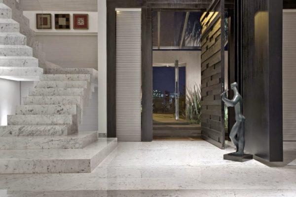 projeto casa piso escada marmore carrara hall entrada