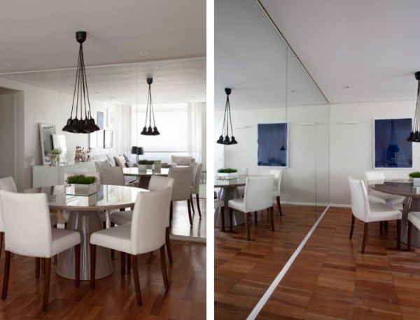 sala de jantar espelho colado na parede