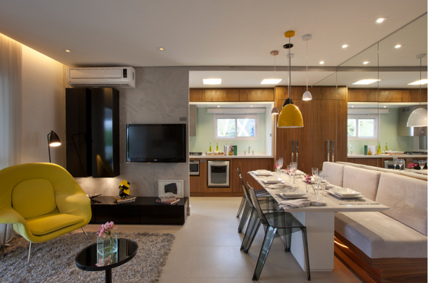 apartamento pequeno mesa retangular branca
