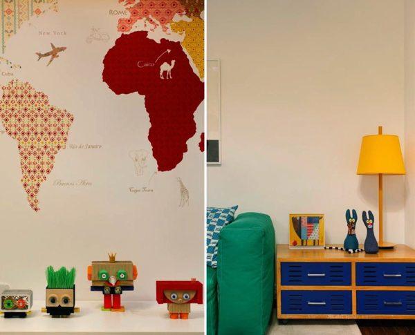 brinquedoteca sala de tv decoracao cores vibrantes mapa mundi