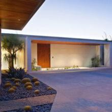 Casa moderna com linhas retas e bem iluminada