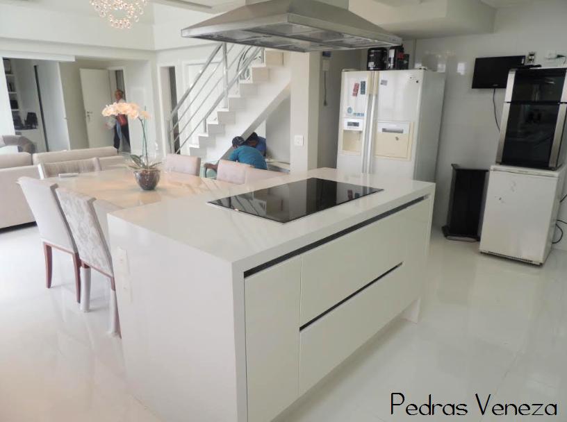 cozinha bancada quartzo stone branco