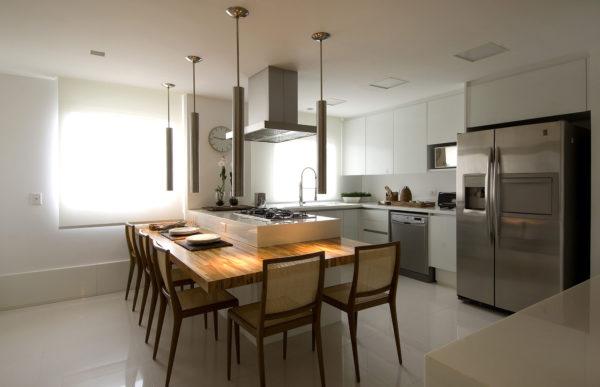 cozinha com ilha silestone mesa madeira projeto debora aguiar
