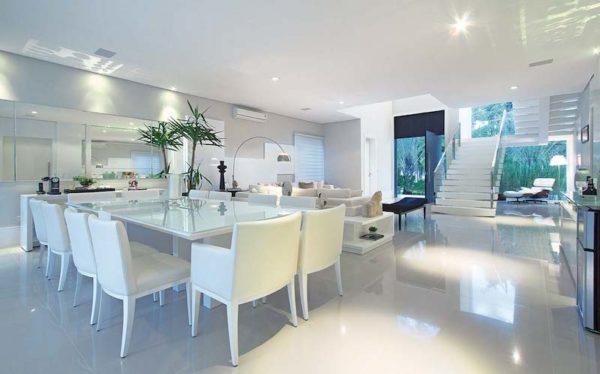 decoracao sala jantar linda moderna branca