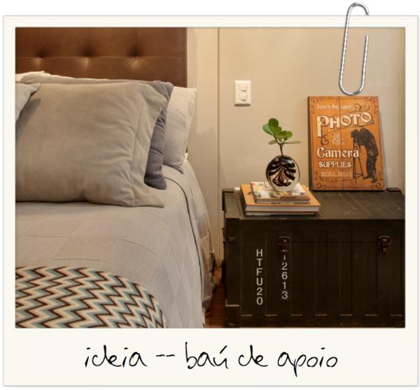 bau no lugar do criado mudo como apoio ideia para quarto decoracao