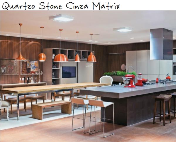 cozinhz ilha quartzo stone cinza silestone