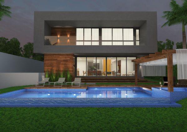 fachada de casa fundo piscina
