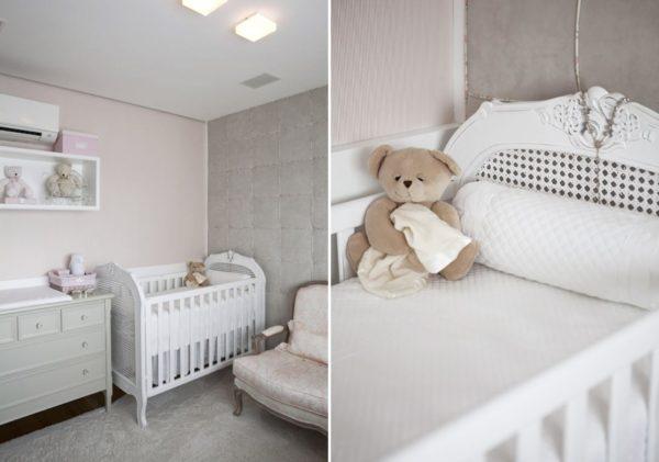 quarto de bebe menina nas cores rosa e cinza decoracao classica e delicada
