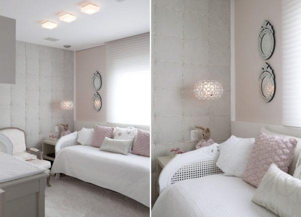 quarto de bebe menina nas cores rosa e cinza tecido na parede decoracao classica e delicada