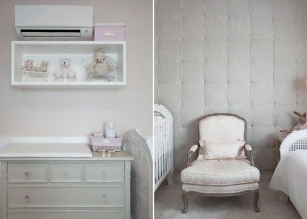 quarto de bebe menina nas cores rosa e cinza tecido na parede decoracao classica e delicada poltrona luis XV