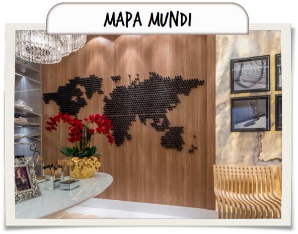 decoracao parede mapa mundi toquinhos madeira