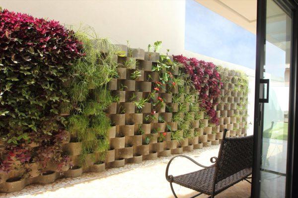 muro de detalhe de cobogo e vasos de planta