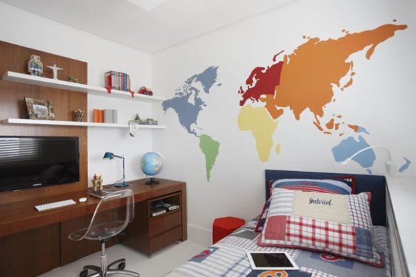 mapa mundi adesivo colorido quarto crianca
