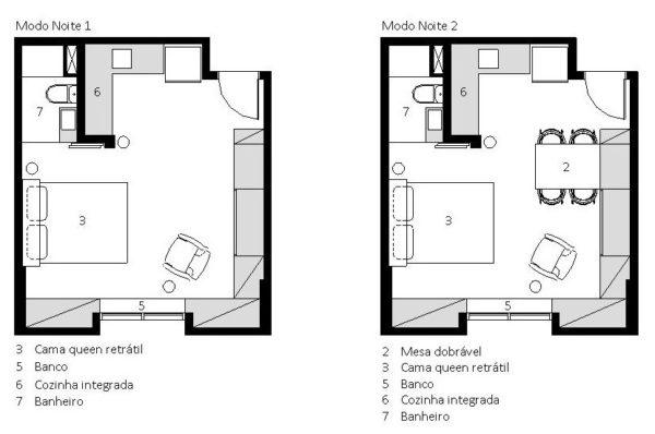 planta baixa apartamento pequeno modo noite